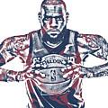 Lebron James Cleveland Cavaliers Pixel Art 54 by Joe Hamilton