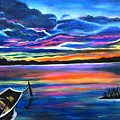 Left Alone A Seascape Boat Painting At Sunset  by Manjiri Kanvinde