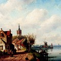Leickert Charles A Village Along A River A Town In The Distance by PixBreak Art