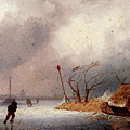 Leickert Charles A Winter Landscape With Skaters On A Frozen Waterway by PixBreak Art