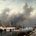 Leickert Charles Henri Joseph A Frozen Winter Landscape With Skaters by PixBreak Art