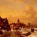 Leickert Charles Henri Joseph Winter And Summer Canal Scenes Scene  by PixBreak Art