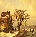 Leickert Charles Skaters In A Frozen Winter Landscape by PixBreak Art