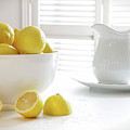 Lemons In Large Bowl On Table by Sandra Cunningham