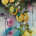 Lemons On Blue by Renee Chastant