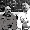 Lenin And Stalin Circa 1923 Color And Drawing Added 2016    by David Lee Guss