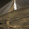 Leonard P. Zakim Bunker Hill Bridge In Sepia by Michael Tidwell