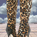 Leopard Boots With Ankle Straps by Elaine Plesser
