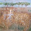 Leopard With Cub by Susan Nielsen