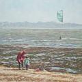 Lepe Beach Windy Winter Day by Martin Davey
