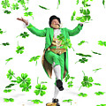 Leprechaun Tossing Shamrock Leaves up in the Air by Oleksiy Maksymenko