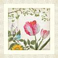 Les Magnifiques Fleurs I - Magnificent Garden Flowers Parrot Tulips N Indigo Bunting Songbird by Audrey Jeanne Roberts