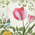 Les Magnifiques Fleurs IIi - Magnificent Garden Flowers Parrot Tulips N Indigo Bunting Songbird by Audrey Jeanne Roberts