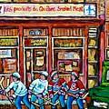 Les Scenes De Pointe St Charles Les Produits Smoked Meat Avec Partie De Hockey by Carole Spandau