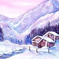 Swiss Mountain Cabins In Snow by Sabina Von Arx