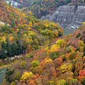 Letchworth Falls Sp Fall Colored Gorge by Dean Hueber