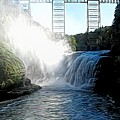 Letchworth State Park Upper Falls And Railroad Trestle Abstract by Rose Santuci-Sofranko