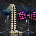 Lets Party Vintage Blue Martini Glasses On Black Sla by Milleflore Images