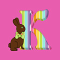 Letter K Chocolate Easter Bunny by Debra Miller