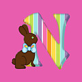 Letter N Chocolate Easter Bunny by Debra Miller