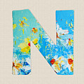 Letter N Roman Alphabet - A Floral Expression, Typography Art by Patricia Awapara