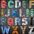 Letters Of The Alphabet Recycled Vintage License Plate Art With Apple Colorful School Nursery Kids Room Print by Design Turnpike