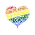 Lgbt Rainbow Hearth Flag Illustrated With Love Word Of Different Languages by Artpics