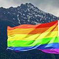 Lgbtq Rainbow Flag With Snowy Mountain Background View by Brch Photography