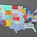 License Plate Map Of The United States Edition 2016 On Steel Background by Design Turnpike