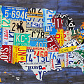 License Plate Map Of The Usa On Blue Wood Boards by Design Turnpike