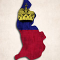 Liechtenstein Map Art With Flag Design by World Art Prints And Designs