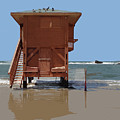 Life Guard Shack At Ocean by Elaine Plesser