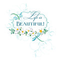 Life Is Beautiful - Dragonflies N Daisies W Leaf Swirls N Dots by Audrey Jeanne Roberts