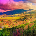 Light  Beam Falls On Hillside With Autumn Forest In Mountain by Michael Pelin