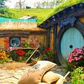 Light Blue Hobbit Door by Kathy Kelly