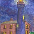 Light House At Night by William Burgess