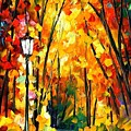 Light Of The Forest - Palette Knife Oil Painting On Canvas By Leonid Afremov by Leonid Afremov