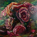 Light Striking Deep Red Roses by Ryn Shell