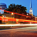 Light Trails In Front Of Bentonville Record And Water Tower by Gregory Ballos