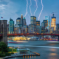 Lightening Striking Manhattan by Randy Lemoine
