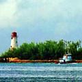 Lighthouse And Boat Nassau Bahamas by Susan Savad