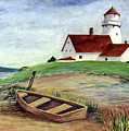 Lighthouse And Dinghy by Dee Flouton