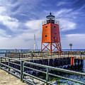 Lighthouse At Charlevoix South Pier  by Nick Zelinsky