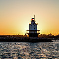 Lighthouse At Sunset by Mary Swann