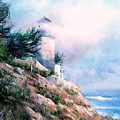 Lighthouse In The Mist by Sally Seago