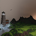 Lighthouse Landscape By John Junek Fine Art Prints And Posters by John Junek