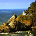 Lighthouse On The Oregon Coast by Marty Koch
