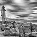 Lighthouse Peggys Cove - Black And White by Andre Distel