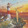 Lighthouse Sunset by Mike  Mullins