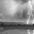 Lightning Bolts Striking Longs Peak Foothills 6bw  by James BO Insogna